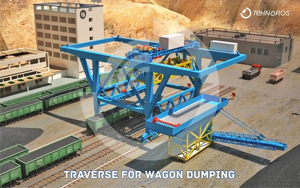 Traverse for wagon dumping