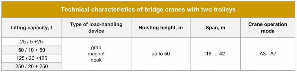 Special bridge cranes with 2 trolleys Technical parameters.jpg