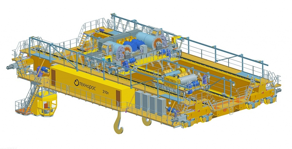 Bridge metallurgical pouring crane with lifting capacity 210 t (3D-model)